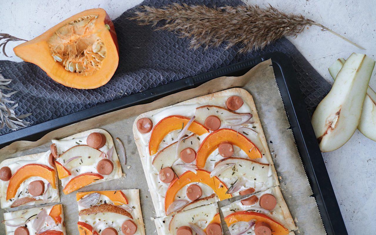 veganer flammkuchen mit kürbis