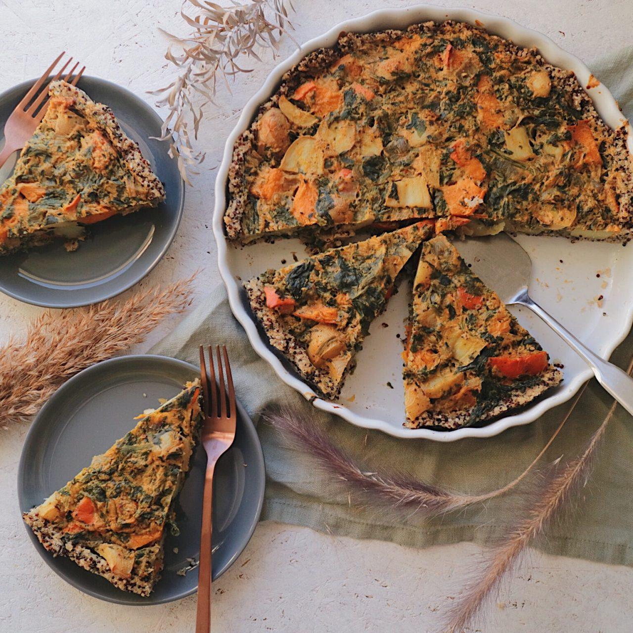 Vegane Kürbisquiche mit Quinoaboden
